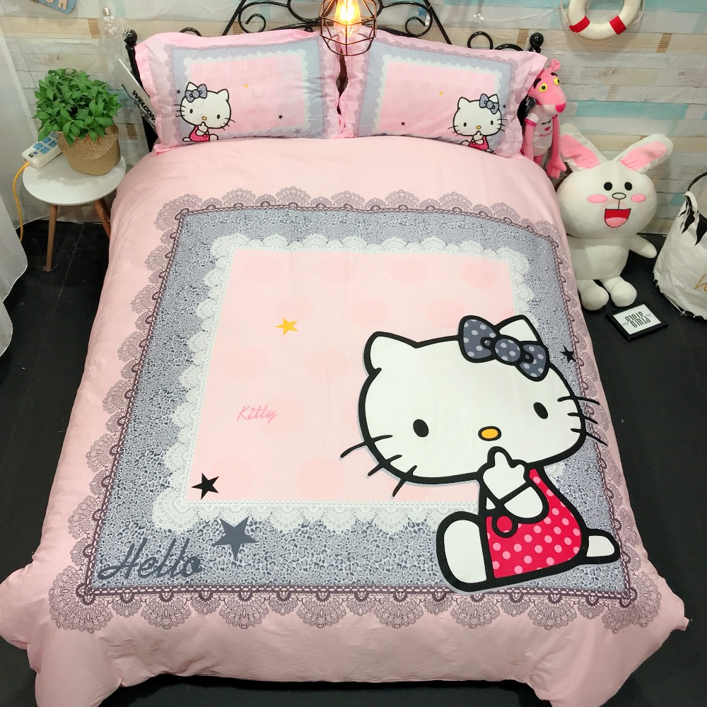 100%Cotton Bedding Sets Cartoon Hello Kitty pink white lovely 4pcs king queen twin size Bed Set Duvet Cover Bed Sheet Pillowcase100%Cotton Bedding Sets Cartoon Hello Kitty pink white lovely 4pcs king queen twin size Bed Set Duvet Cover Bed Sheet Pillowcase