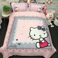 100%Cotton Bedding Sets Cartoon Hello Kitty pink white lovely 4pcs king queen twin size Bed Set Duvet Cover Bed Sheet Pillowcase