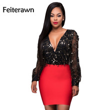 Feiterawn 2017 Women New Sexy Fashion V-neck Full Sleeve Sequined Lace Club Wear Bodycon Dress OS2161