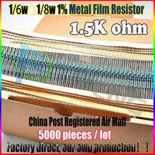 НОВЫЙ 5000 шт. 1.5 К ом 1/6 Вт & 1/8 Вт 1.5KR Металл Резистор 1.5 ком 0.25 Вт 1% ROHS