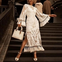 SRDP Embroidery vintage white long dress Women summer tassel bodycon dress Female transparent flare sleeve elegant dress 2019
