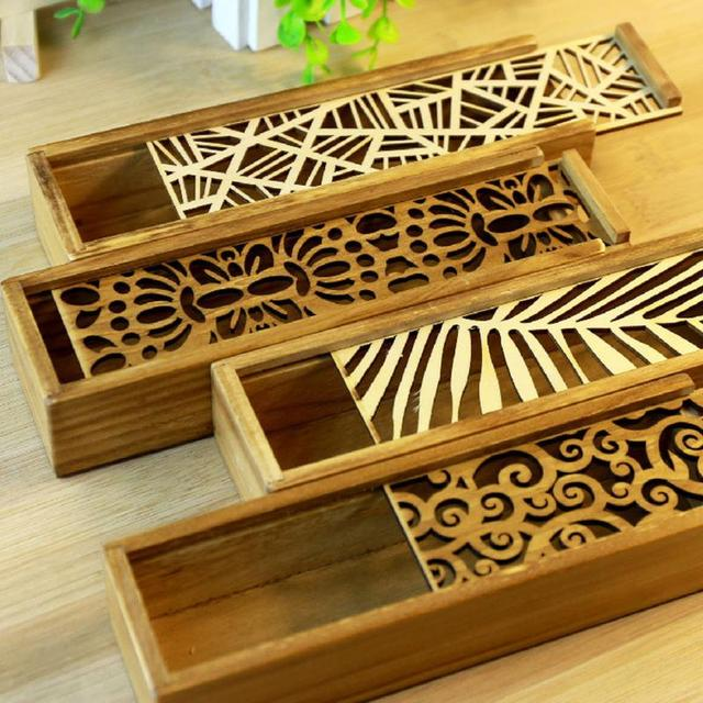 Hollow Wood Pencil Case Storage Box Creative Students Cute Wooden Pencil Box Multifunction Stationery School Gift
