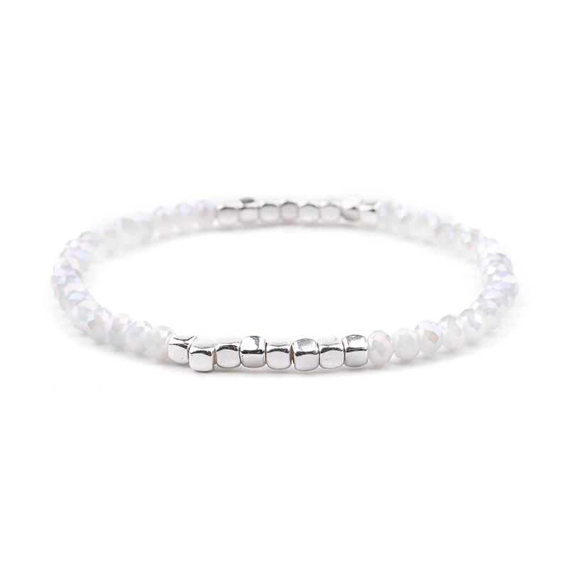 BOJIU многоцветные Кристальные браслеты для женщин золотые акриловые медные бусины розовый белый черный серый женский браслет с кристаллами BC226 - Окраска металла: 21-AB White Silver