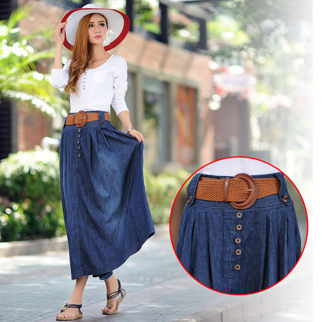 New Summer Long Skirts Womens Denim Skirt Belt Vintage Slim Pleated Saia Longa Jupe Femme