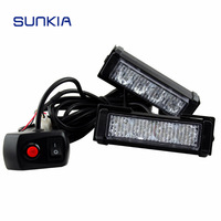 Free Shipping 2x 4 LED Car Police Strobe Flash Light 10 Modes Auto Warning Light 8W