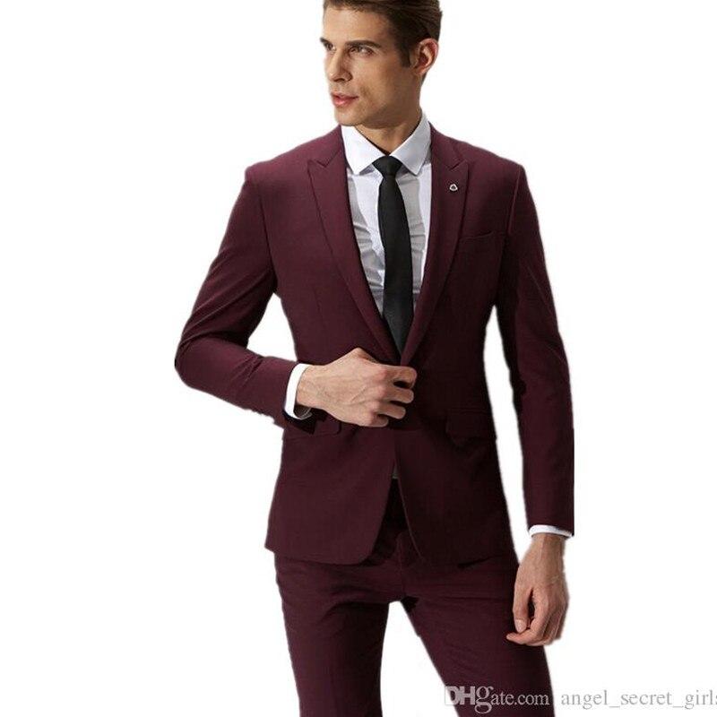 Fashion men suits wine red groom suit men's formal suits a ...