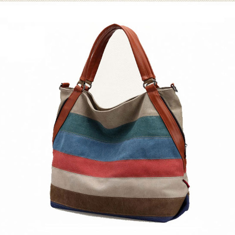 Casual Canvas Tote Shopping Messenger Bag Ethnic Patchwork Hit Color Striped Handbags Women Shoulder Bag Bolsos Crossbody Bags women handbag shoulder bag messenger bag casual colorful canvas crossbody bags for girl student waterproof nylon laptop tote