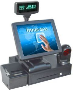 Point of sale 15'' high quality pos terminal pos system all in one cash register with scanner printer cash drawer