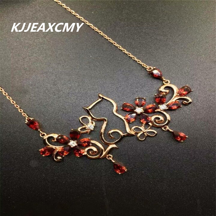 KJJEAXCMY boutique jewelry, natural garnet, female necklace, mosaic, custom made, wholesale, S925 SilverKJJEAXCMY boutique jewelry, natural garnet, female necklace, mosaic, custom made, wholesale, S925 Silver