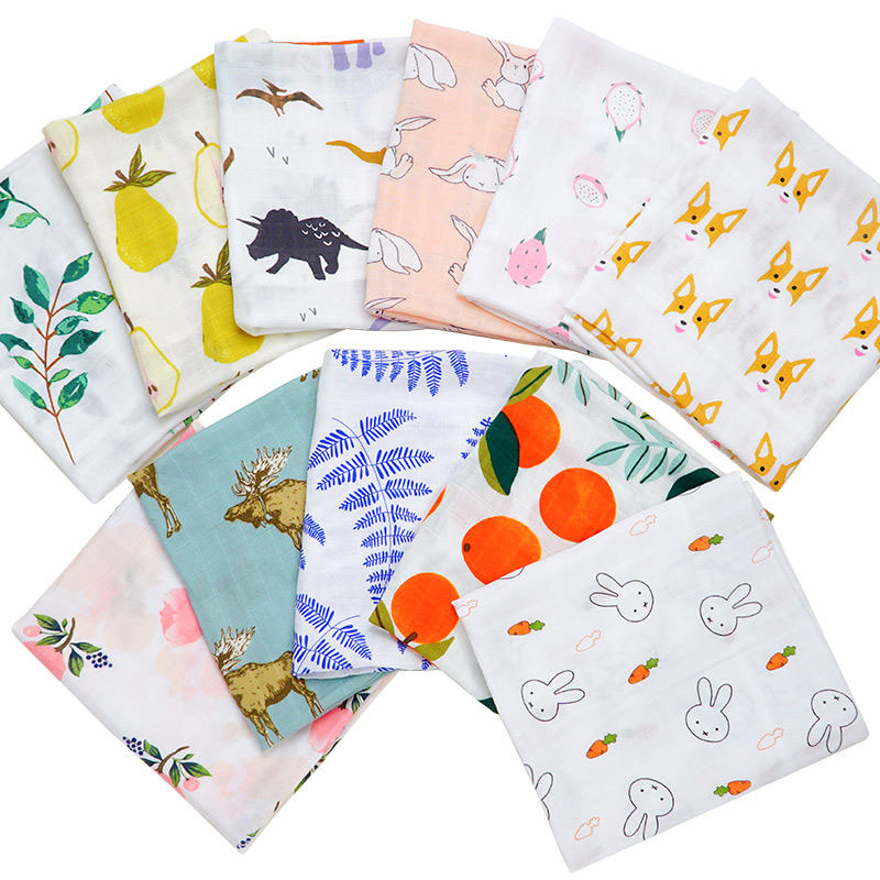2019 Cotton Baby Muslin Blanket Bibs Newborn Cartoon Animal Printed Bandana Kerchief Infant Swaddle Wrap Burp Cloth Towel Scarf