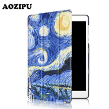 "Caso para Asus ZenPad AOZIPU 3 S 10 9.7 ""Z500M Soporte Inteligente Triple Plegable de Impresión de LA PU Cubierta de Cuero para Asus Zenpad Tableta de 9.7 pulgadas"