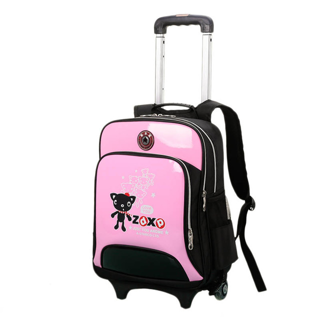 New Arrival Trolley School Bag Girls and boys Cartoon Wheeled Backpack School Good Quality PU Leather Removable Book Bag 6 Color