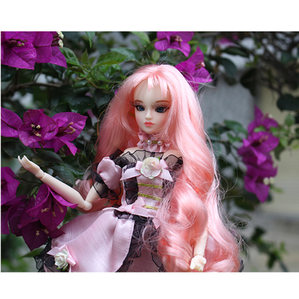 MM Girl ICY blyth doll fortune days princess xiaojing pink wavy hair dress shoes stocking stand