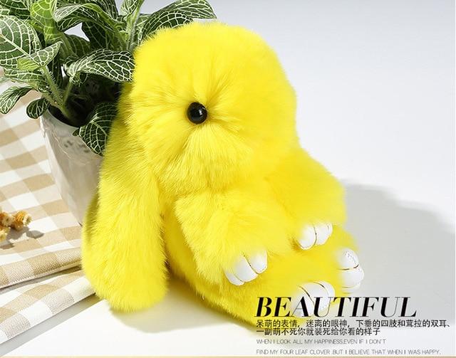 Soft Genuine Rabbit fur key chain fur keychain Rabbit pendant key ring trinket Women bag charm Accessories around 15cm