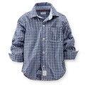 Envío Gratis ropa Niños Chicos Camisetas Famosa Marca Blusa Patch Diseño de manga Larga Del Otoño Del Resorte Niños Plaid Camisa de La Blusa