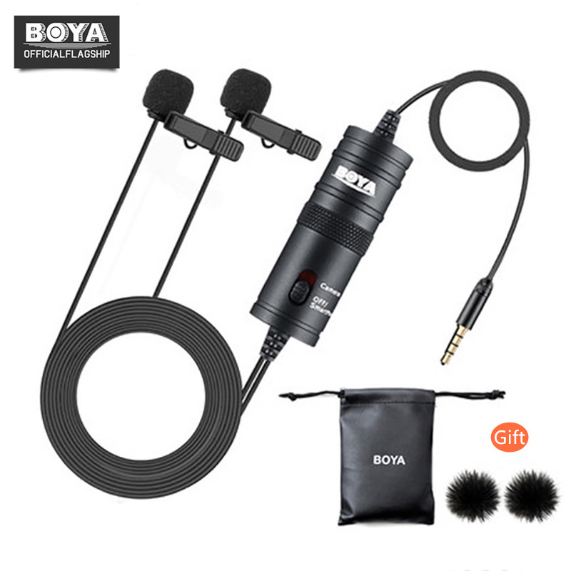 BOYA BY-M1DM Dual Head Lavalier Condenser Microphone Audio Record for iPhone Andriod DSLR Canon Nikon Camcorder,Updated of BY-M1 image