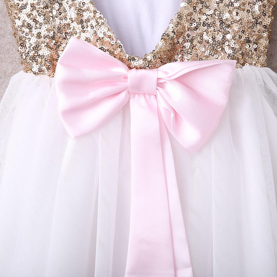 3a8c76354 Kids Sequins Baby Girls Infantil Child Dress Bow Backless Party ...
