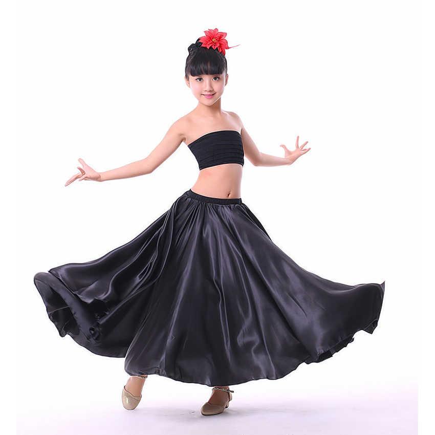 Праздничное платье на Хэллоуин вечерние для девочек-подростков ростом от 110 до 150 см, испанская юбка для фламенко, однотонная атласная юбка высокого качества для девочек-принцесс
