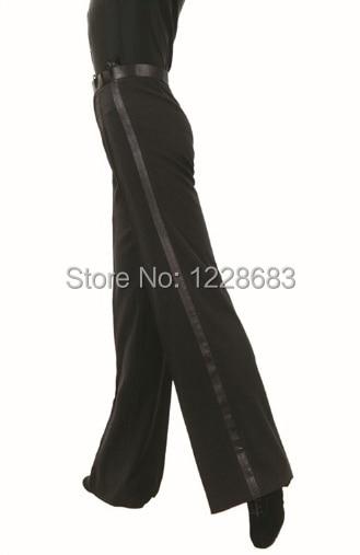 Free Shipping Black Satin Ribbon On Side Panel Ballroom Tango Salsa Samba Pants Dancing Boy Mens Latin Dance Pants