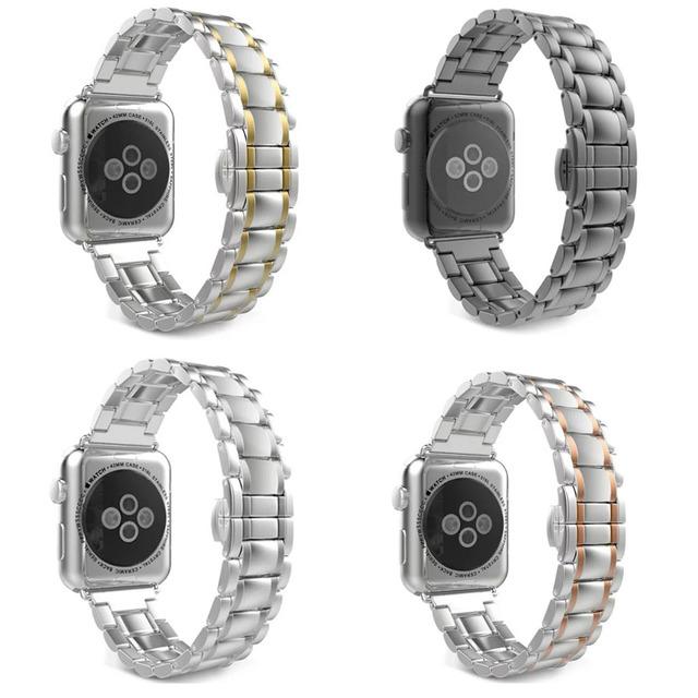 42mm 38mm 5 Puntos de Doble Botón de La Mariposa Hebilla de Acero Inoxidable venda de reloj para apple watch correa para apple watch series 2