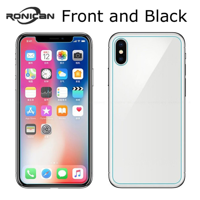 new product 1062c 74f35 US $0.9 9% OFF|2PCS Front + Back 9H Tempered Glass For iPhone 8 8Plus 5 5S  SE 6 6S Plus Rear Screen Protector Films for iphone X 10 7 7Plus-in Phone  ...