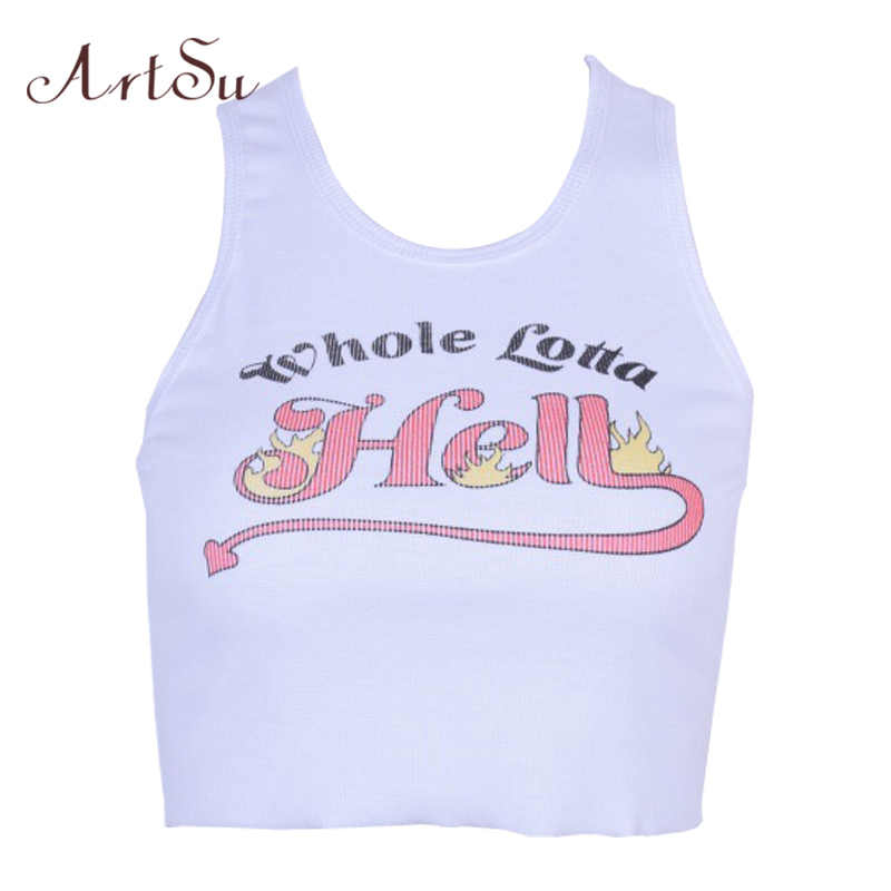 e1642762507 ArtSu Summer 2019 Letter Print Knitted Sleeveless Tank Top Women Sexy  Fitness Crop Top White Camisole
