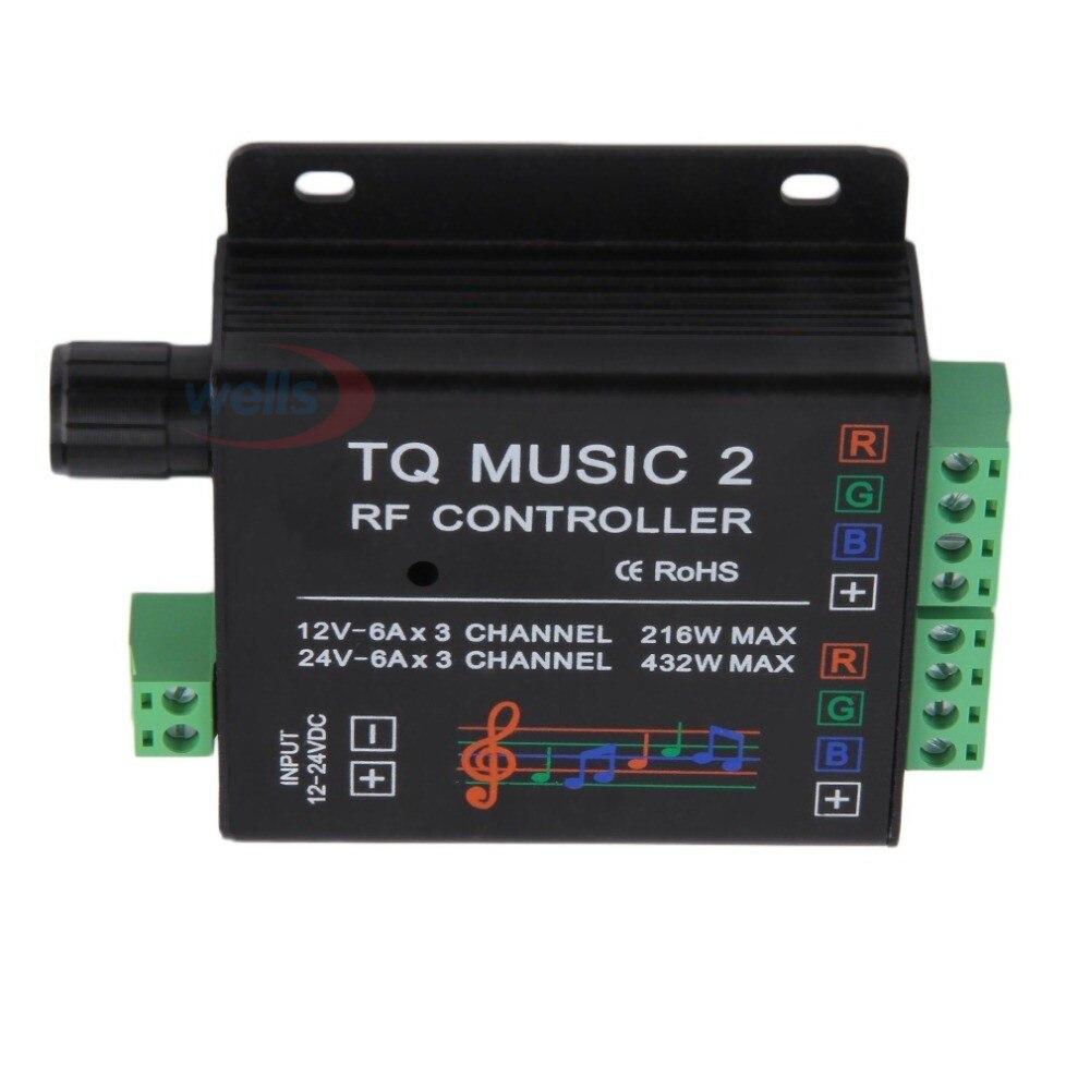 LED DC12-24V 18A RGB Music Controller RF Remote Inteligentní zvuková citlivost Led Backlig