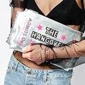2016 nueva moda letras de la historieta de la impresión de plata embrague del sobre de la cadena del bolso de fiesta para mujer del bolso de hombro del bolso del mensajero bolso
