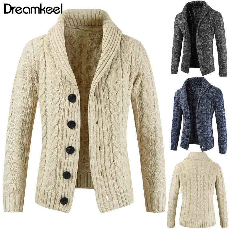 2019 新ホット販売のロングメンズ白のセーターのカーディガントレンチ男性秋暖かいジャケットコートセーターの冬のセーター y1