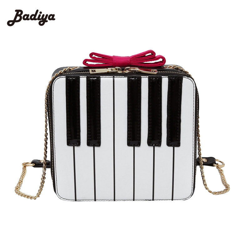 Chains Strap Soft PU Leather Shoulder Bag Creative Piano Bow Patchwork Womens Messenger Bags Small Design Fashion Shoulder Bag