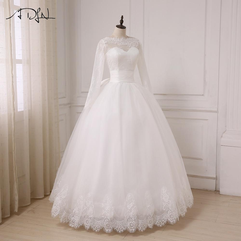 ADLN A-line Bröllopsklänning Långärmade Tulle Golvlängd Arabiska - Bröllopsklänningar - Foto 4