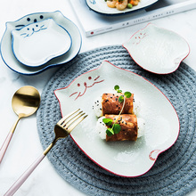 1pc Cartoon Kitty Ceramic Dinner Plate Hand-painted Cat Porcelain Dishes Saucer Plate Sushi Plate 4/5/6/7 inches Tableware
