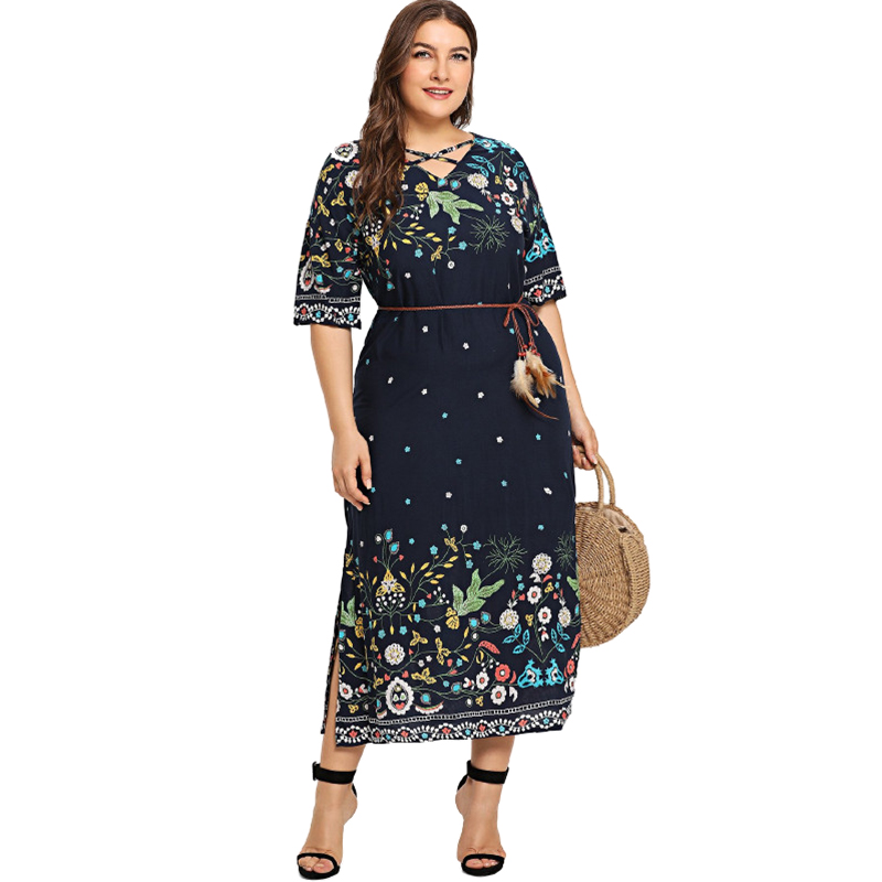 DCOS Women Fashion V Neck Half Sleeve Floral Print Side Slit Dress Ladies Casual Plus Size Holiday Beach Boho Long Maxi Dress