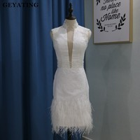 Vestido de coctel 2019 White Lace Short Cocktail Dresses for Party Sheer Plunging V Neck Beaded Ostrich Feather Robe cocktail