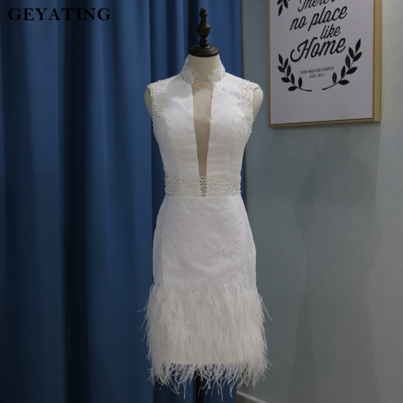 Vestido de coctel 2019 White Lace Short   Cocktail     Dresses   for Party Sheer Plunging V-Neck Beaded Ostrich Feather Robe   cocktail