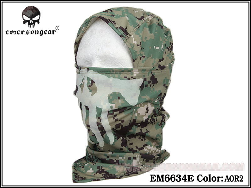 Emersongear Ghost Multi-functional Hood Luminous Mask Scarf Military Breathable  Mesh Full Face Mask EM6634 Multicam Black AOR