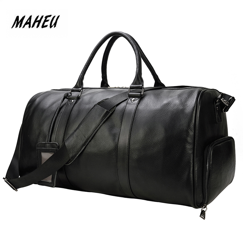 MAHEU High Quality Hand Carry Luggage For Men Cabin Bag Male Duffle Bag Men Travel Handbag Duffle Bag Large Black Pure Leather