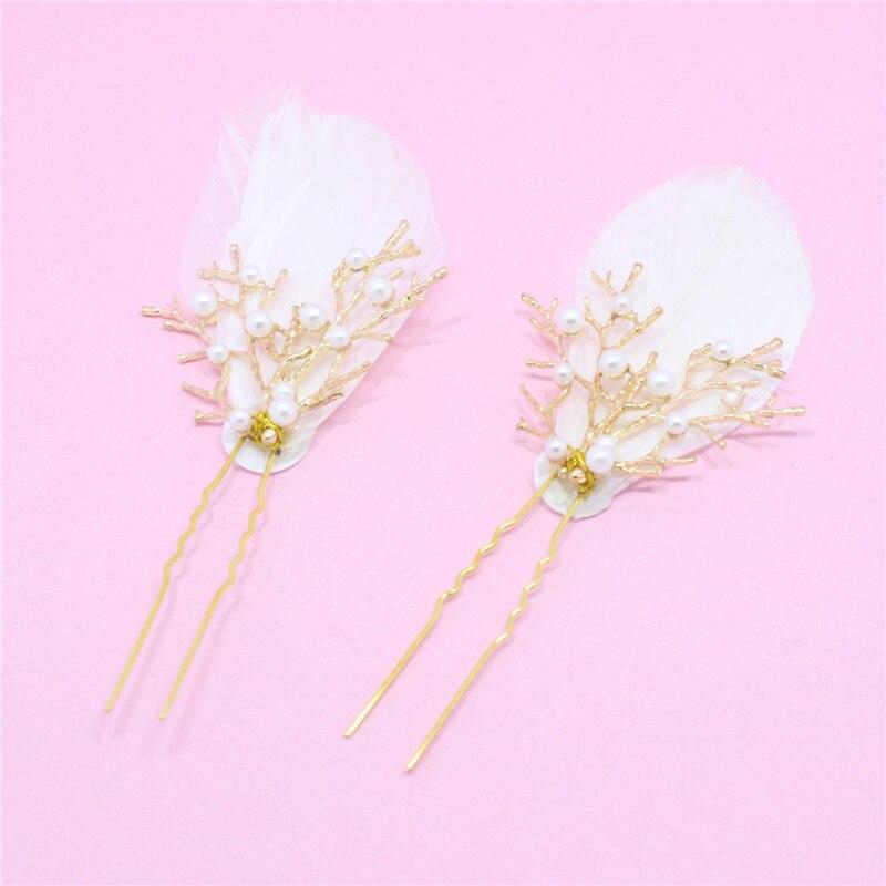 2 шт./упак. свадебные заколки для волос с перламутровыми перьями для подружки невесты, заколки для волос, женская заколка для волос|feather hair pin|wedding bridalhair pins | АлиЭкспресс