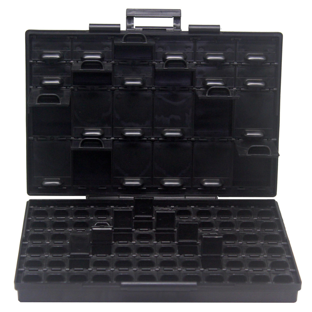 AideTek BOXALL96AS 96 lids anti-static ESD safe enclosure SMD SMT IC diode parts organizer transistor BOXALL96AS aidetek esd safe smd ic box w 144 bins anti statics smd smt organizer transistor electronics storage cases