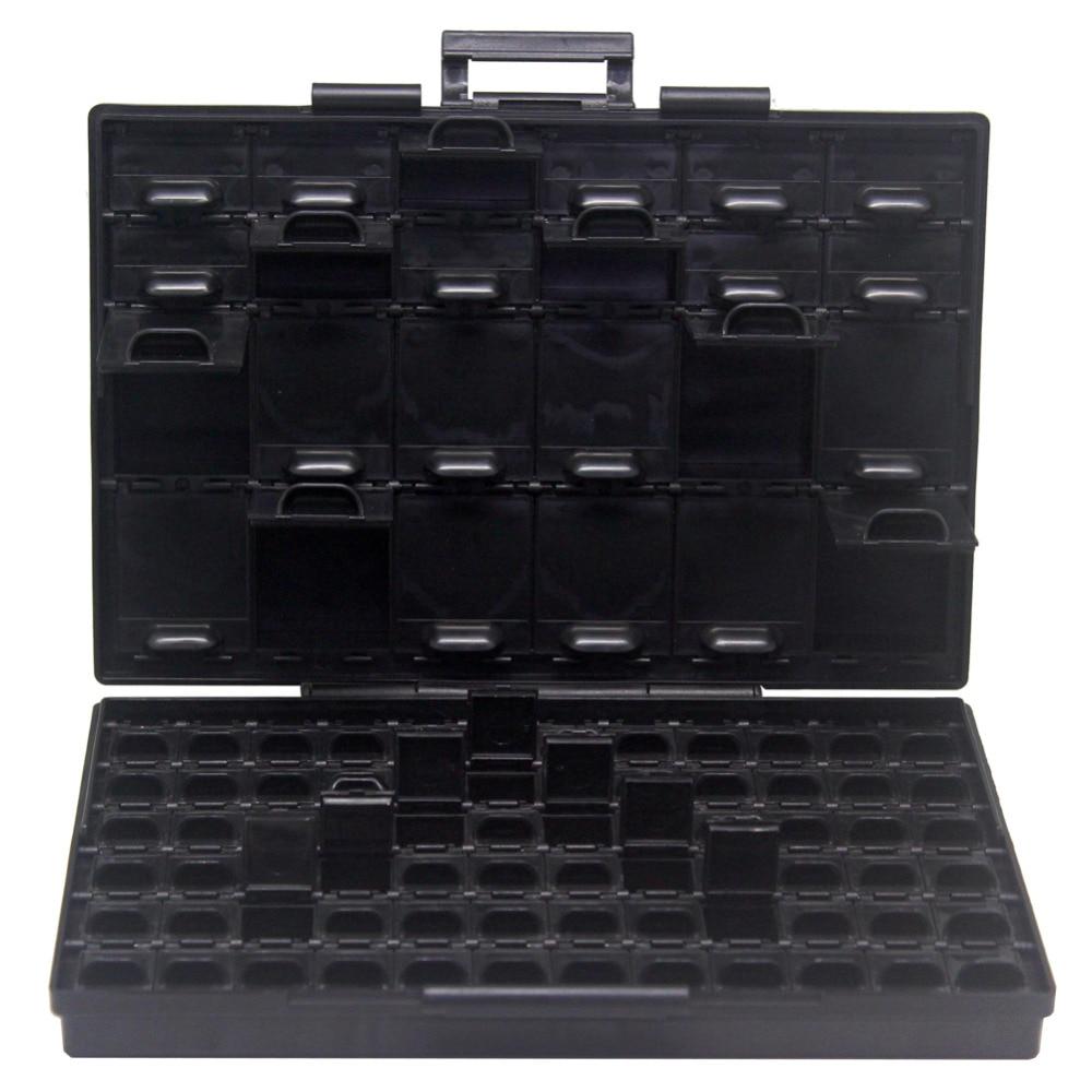 AideTek Box Organize Anti-static ESD Safe Enclosure SMD SMT IC Diode Parts Organizer Transistor Plastic Toolbox Black BOXALL96AS