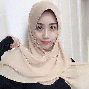 Image 2 - イスラム教徒の女性のhijabsファッションシフォンヒジャーブ/スカーフ/キャップフルカバーインナーイスラムヘッド磨耗帽子underscarf便利な