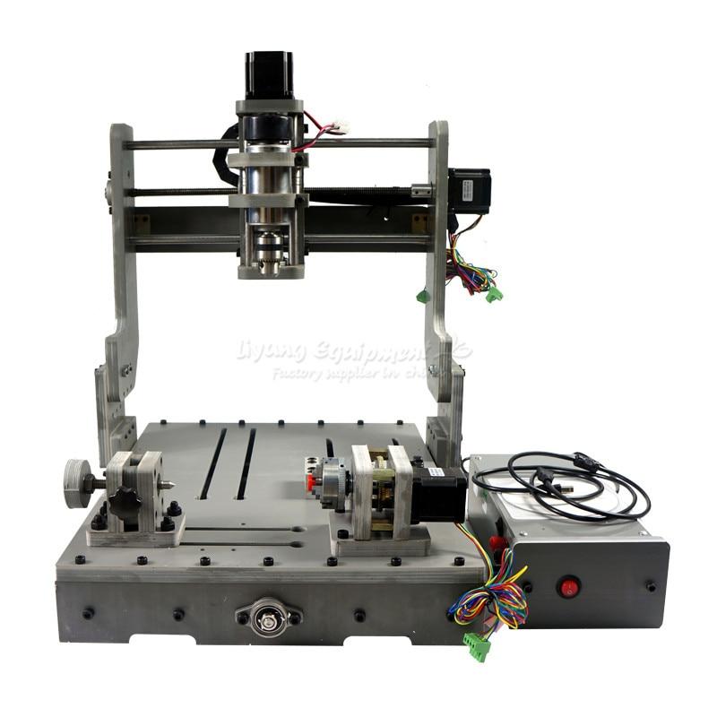 DIY CNC milling machine 3040 4 axis mini cnc router DC spindle 300W hot sale diy cnc 2030 parallel port 4 axis mini wood milling router dc spindle 300w 3 175mm drill tip