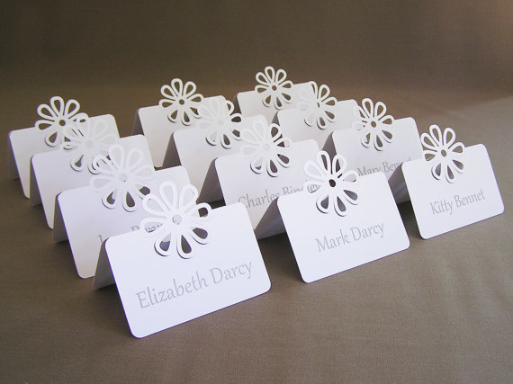 Blank Flower Wedding Placecard Tent Place Cards Bridal