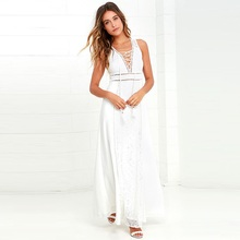 Witsources women sexy beach dresses summer 2017 new bohemian deep V neck backless lace casual white chiffon dress SD3505