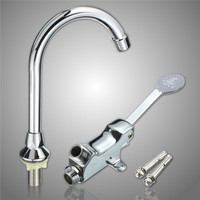 Brass Bathroom Medical Laboratory Basin Faucet Tap Copper Foot Pedal Basin Mixer Water Faucet Taps Single Cold Water