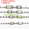 Free shipping 15mm Linear Guide MGN15 L= 600mm linear rail way + MGN15H Long linear carriage for CNC X Y Z Axis