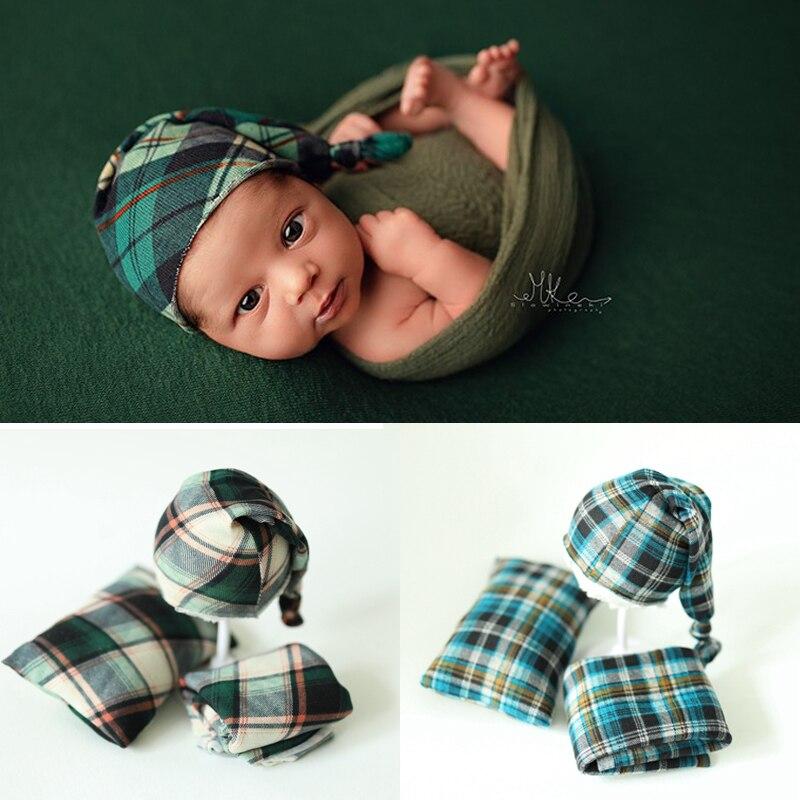 2019 Adereços Fotografia de Recém-nascidos Wraps Xadrez Do Bebê Hats & Travesseiro Macio Bonito Conjunto Accessorio Tiro Do Estúdio Foto Fotografia Adereços