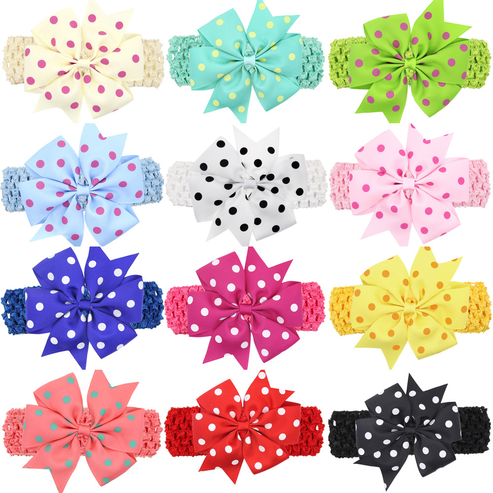 baby girl headband Infant hair accessories band bows   Headwear   Dot tiara headwrap Gift Toddlers bandage Ribbon newborn cloth