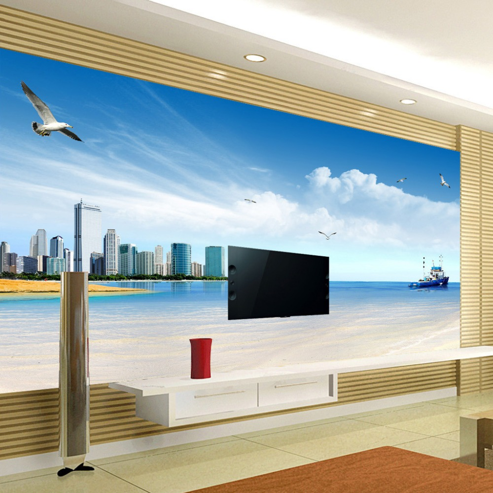 Custom Photo Wallpaper Sea View City Photography Background 3D Non-woven Printed Wallpaper Living Room TV Backdrop Wall Paper beibehang non woven pink love printed wallpaper roll striped design wall paper for kid room girls minimalist home decoration
