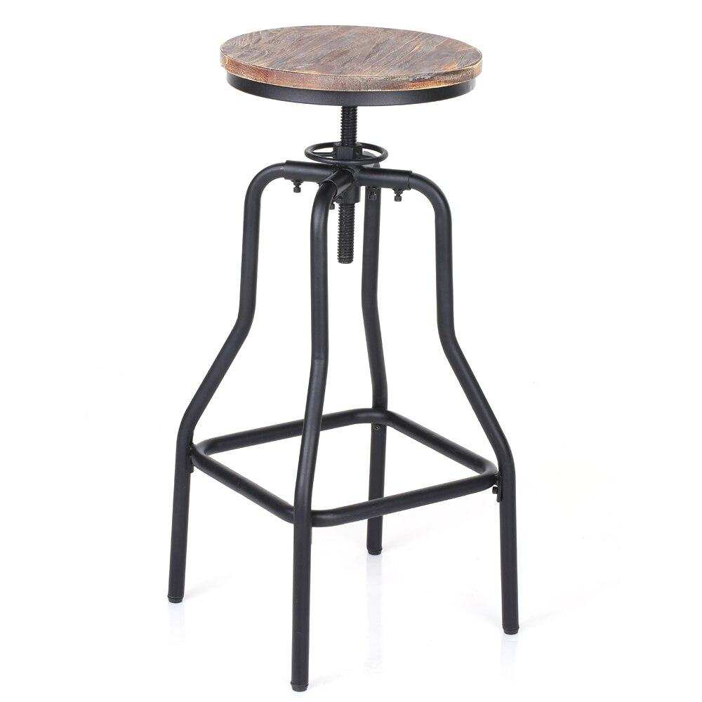 iKayaa Bar Stool Industrial Style Height Adjustable Swivel Bar Stool Natural Pinewood Top Kitchen Dining Breakfast Chair